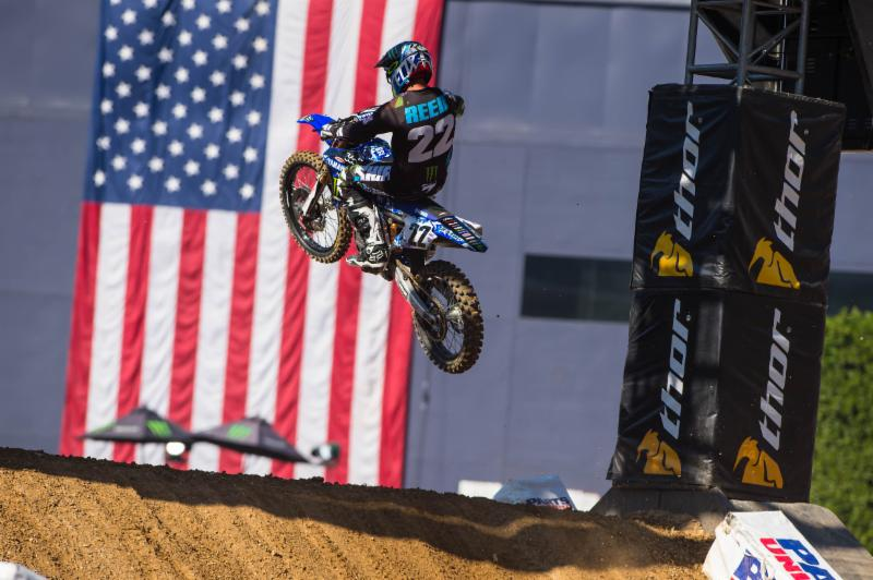 Chad Reed''s custom-designed camouflaged-themed riding gear and bike graphics were auctioned off after the race in support of the military.