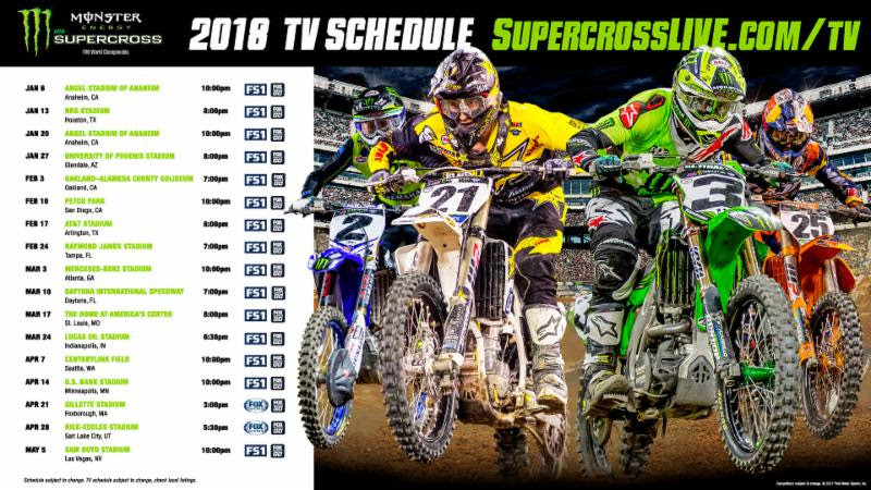 The 2018 Monster Energy Supercross Television Schedule