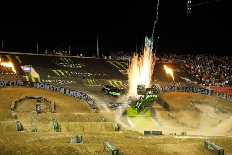 Monster Energy Monster Jam driver, Todd LeDuc, landed a first-ever backflip at Monster Energy Cup during intermission