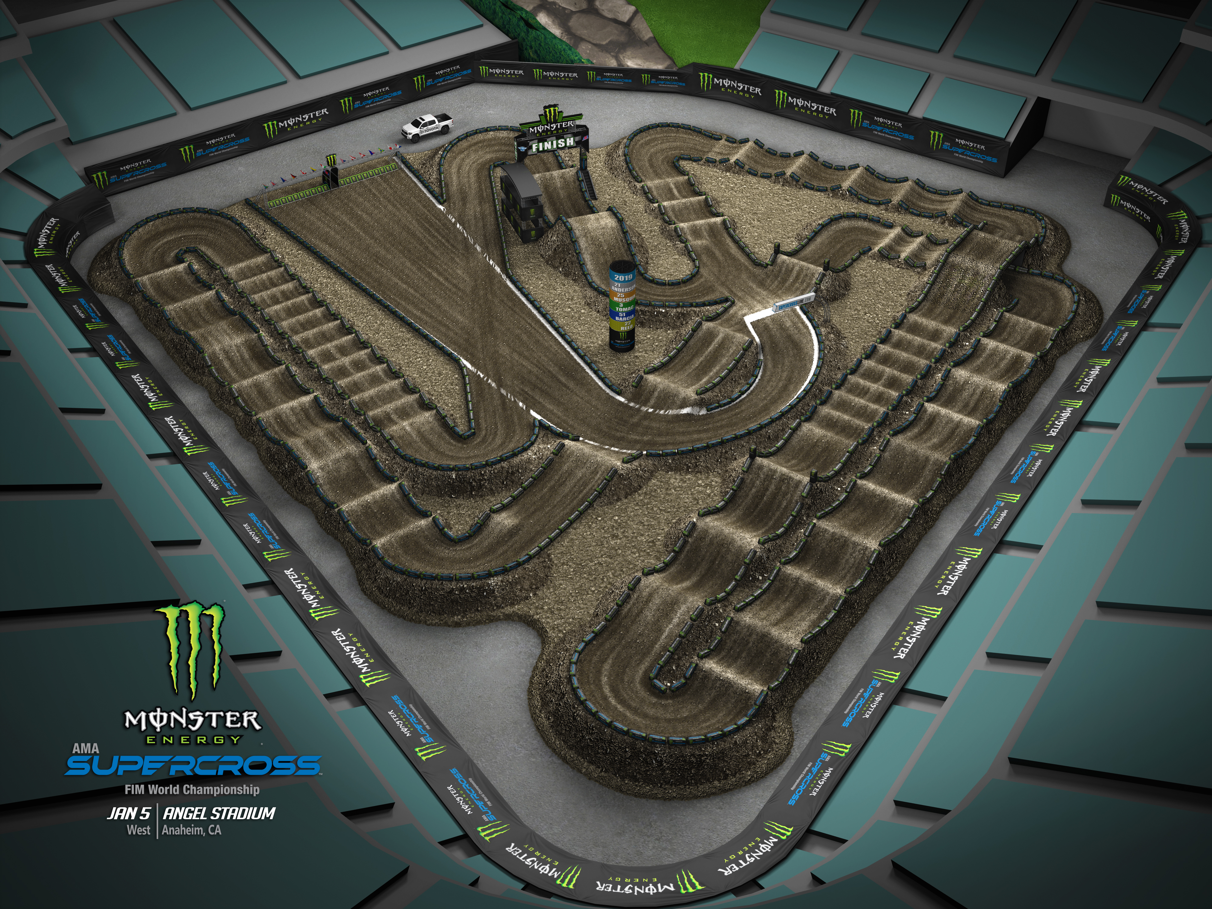 2019 Monster Energy Supercross Anaheim Track Map