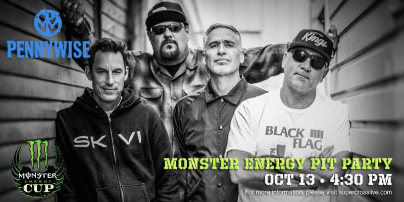 Byron McMackin, Fletcher Dragge, Randy Bradbury and Jim Lindberg will perform on Saturday, October 13 at the Monster Energy Cup being held at Sam Boyd Stadium.