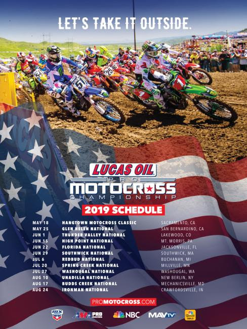 MX Sports Pro Racing and NBC Sports Unveil Schedule for 2019 Lucas Oil Pro Motocross Championship