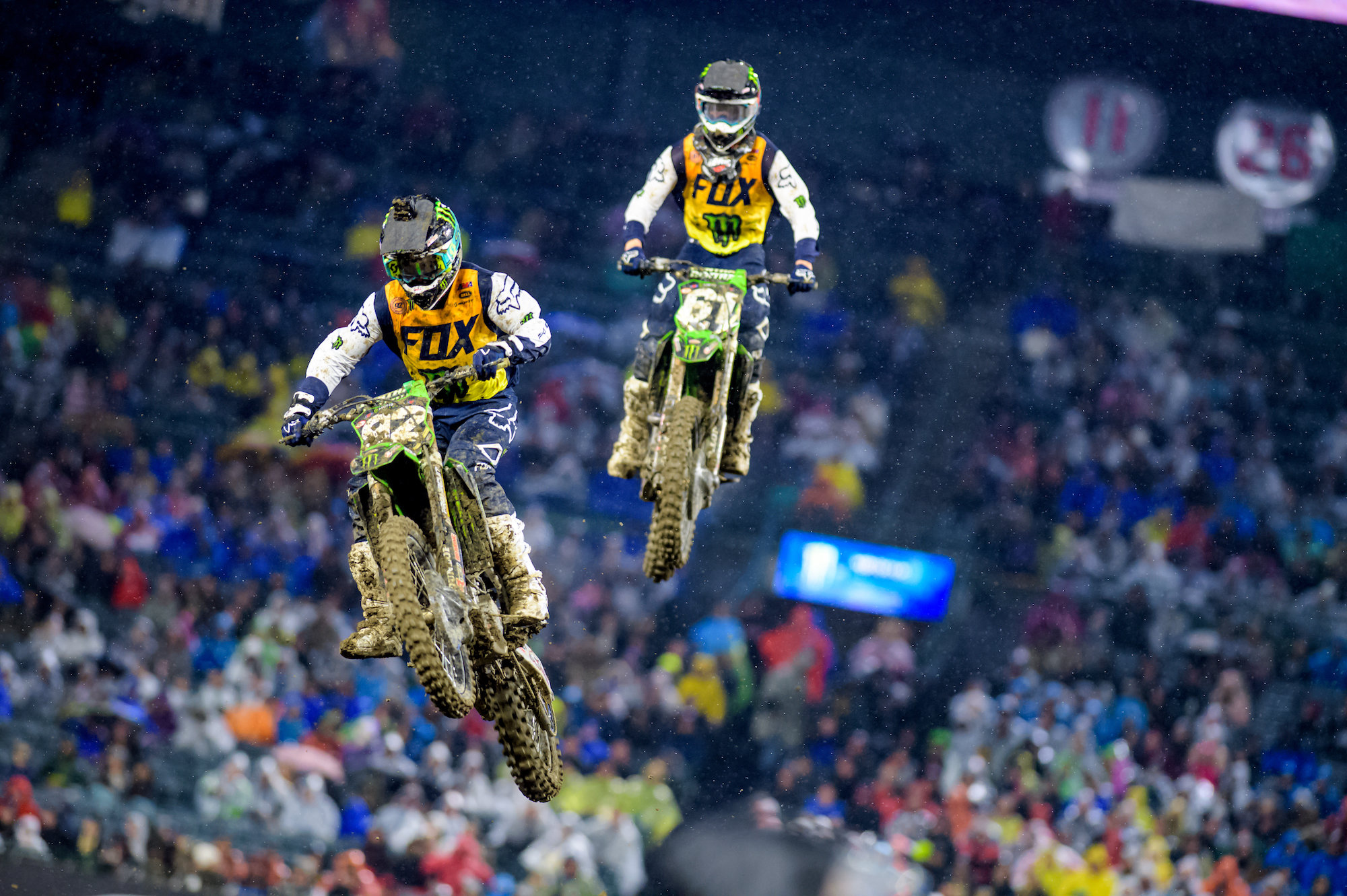 Monster Energy Pro Circuit Kawasaki's Cianciarulo and Marchbanks Ride Through Rain in Anaheim