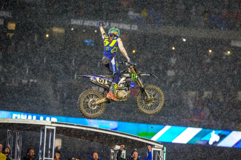 Justin Barcia celebrates in the rain after winning the Anaheim Opener Main Event