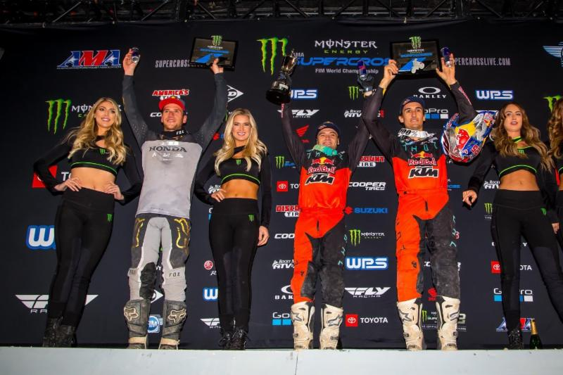 The 450SX Class podium, left to right: Ken Roczen, Cooper Webb, and Marvin Musquin