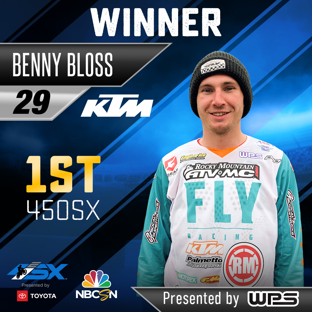 Benny Bloss Dominates 450SX Main Event in First-Ever Monster Energy Supercross E SX Event, Presented by Toyota