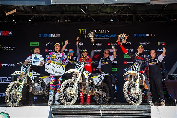 ROCKSTAR ENERGY HUSQVARNA FACTORY RACING TEAM SWEEPS THE 450SX PODIUM AT SX SEASON FINALE